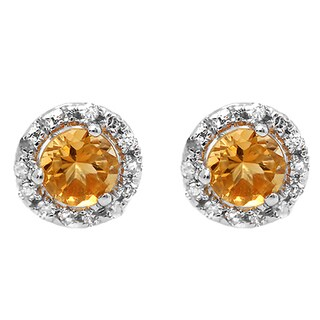 10k White Gold 3/4ct TGW Citrine and Diamond Halo Style Stud Earrings (I-J, I2-I3)