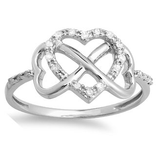 Sterling Silver 1/6ct TDW Diamond Promise Heart Engagement Ring (I-J, I2-I3)