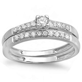 14k White Gold 2/5ct TDW Round Diamond Wedding Set (H-I, I1-I2)
