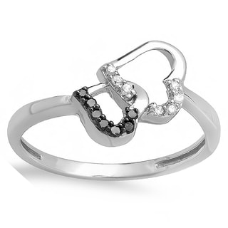 10k White Gold 1/6ct TDW Black and White Diamond Promise Double Heart Engagement Ring (I-J, I2-I3)