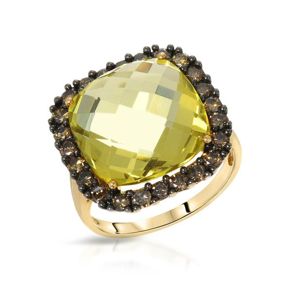 Fay Pay Jewels Yellow Gold 11.57k Greenish Yellow Quartz C2-C3 Diamond Size 7 Ring