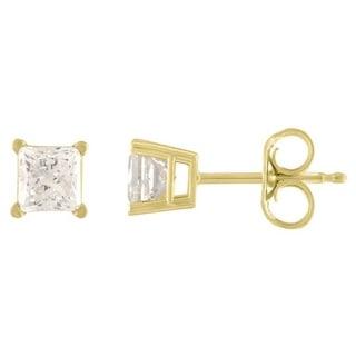 De Couer 14k Yellow Gold 1/3ct TDW Princess Cut Diamond Solitaire Stud Earrings (H-I, I2)