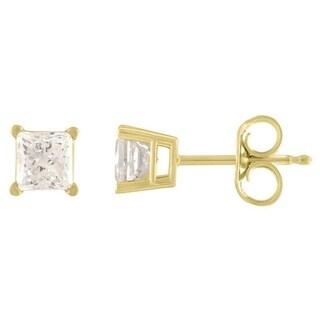De Couer 14k Yellow Gold 1/4ct TDW Princess Cut Diamond Solitaire Stud Earrings (H-I, I2)