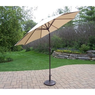 Oakland Living Corporation Beige 9-foot Umbrella with Crank, Tilt System, and Cast PolyResin Stand