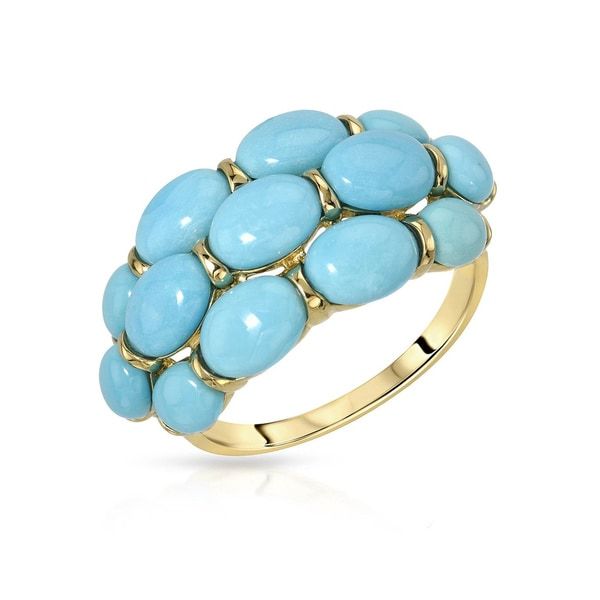 Fay Pay Jewels 14k Yellow Gold 6.64-carat Turquoise Size 9 Anniversary Ring