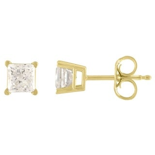 De Couer 10k Yellow Gold 1/5ct TDW Princess Cut Diamond Solitaire Stud Earrings (H-I, I2)