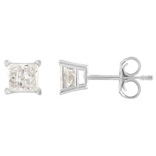 De Couer 10k White Gold 1/5ct TDW Princess Cut Diamond Solitaire Stud Earrings (H-I, I2)
