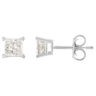 De Couer 10k White Gold 1/6ct TDW Princess Cut Diamond Solitaire Stud Earrings (H-I, I2)