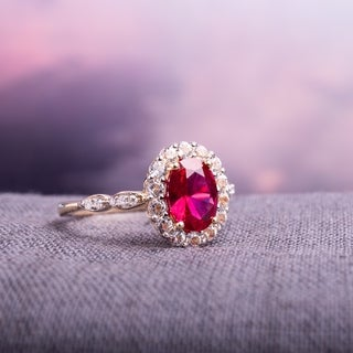 Miadora 14k Yellow Gold Oval-cut Created Ruby, White Topaz and Diamond Accent Halo Cocktail Ring