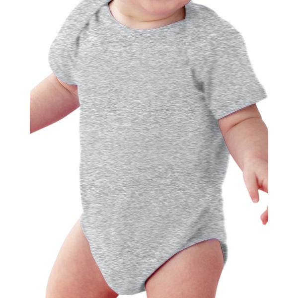 Rabbit Skins Infants' Heather Grey Fine Cotton and Polyester Jersey Lap Shoulder Bodysuit