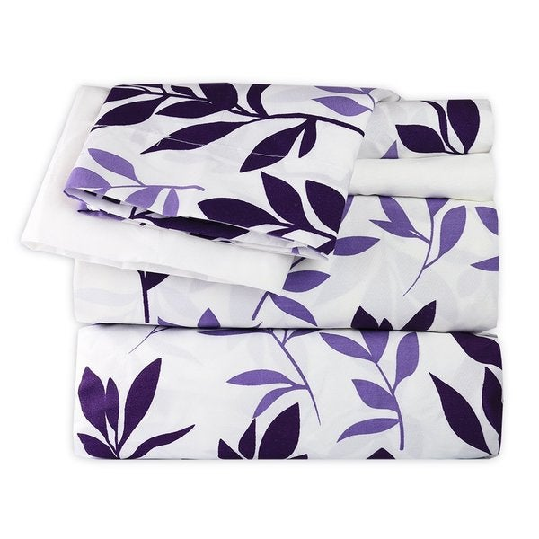 Plum and Lavender Leaves Sheet Set
