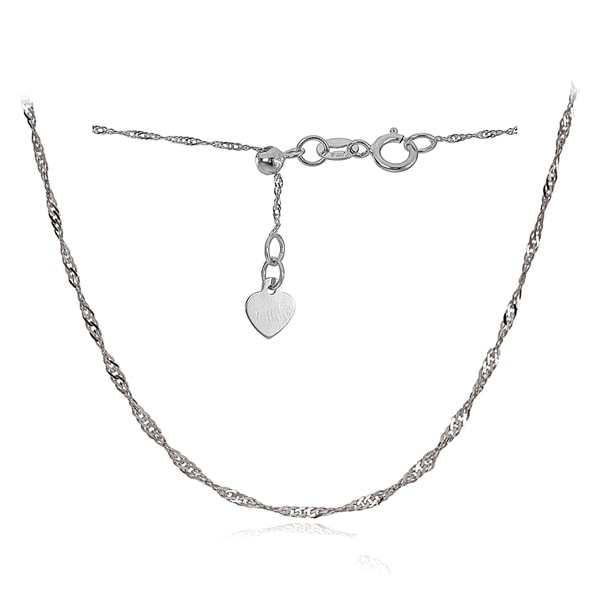 Mondevio 14k White Gold 0.9mm Singapore Adjustable Italian Chain Anklet, 9-11 Inches