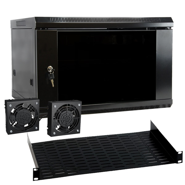 MegaMounts 6U Wall Mount Rack Enclosure Server Cabinet with Two Cooling Fans