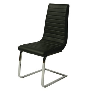 Skyline Chrome Finished Steel and Black Polyurethane Side Chair