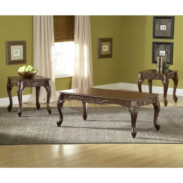 Bernards Kinston Cherry Pine/Veneer/MDF Tables (Pack of 3)