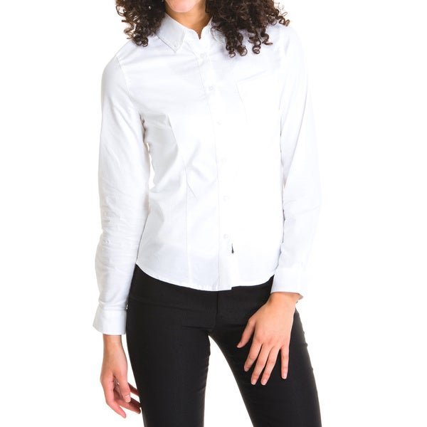 Lee Juniors White Long-sleeved Oxford Blouse