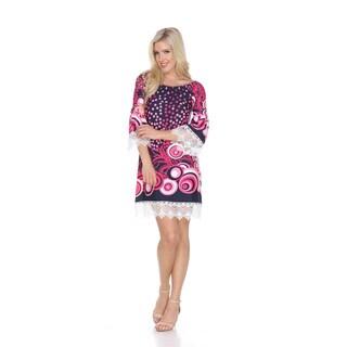 White Mark Women's Lenora Blue/Pink Polyester A-line Dress