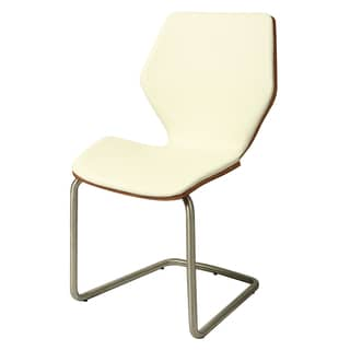 Indiana Set of 2 Off-White Polyurethane Stainless Steel Side Chair