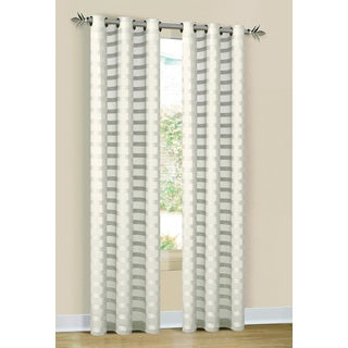 Duck River Ivory/White Stripe Linen-look Polyester 84-inch Grommet Curtain Panel