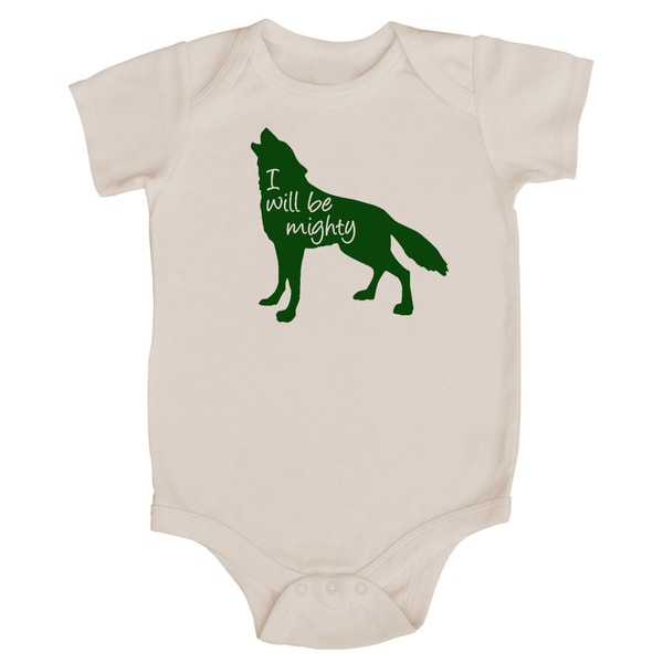 """Rocket Bug """"I Will Be Mighty"""" Wolf Baby Bodysuit"""