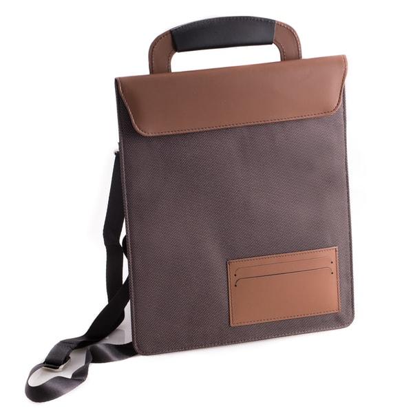 Bey Berk Black/Brown Leather/Ballistic Nylon Travel Tablet Carrying Case