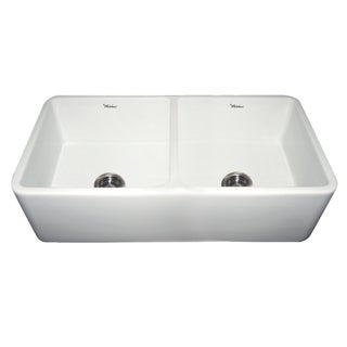 Duet Fireclay Reversible Double Bowl Sink With Smooth Front Apron