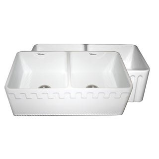 Fireclay Reversible Double Bowl Sink with Athinahaus and Fluted Front Aprons