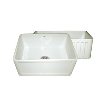 Fireclay Reversible Sink with Concave and Fluted Front Aprons
