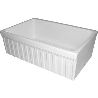 Quatro Alcove Reversible Fireclay Sink with Fluted Front Apron and Decorative Lip