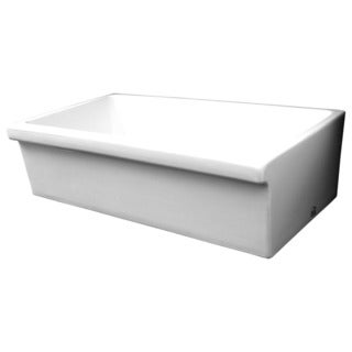 Quatro Alcove Fireclay Large Reversible Sink with 2-inch/2.5-inch Decorative Side Lips
