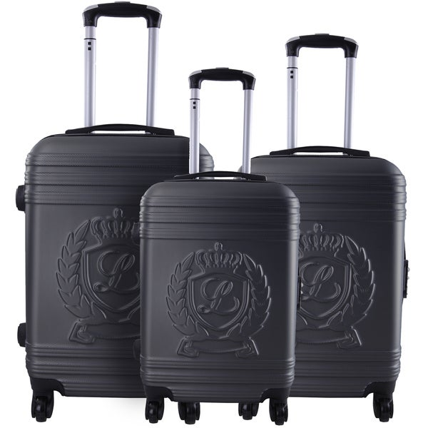 Lollipops Dark Grey ABS/Aluminum/Nylon/Mesh 3-piece Hardside Spinner Luggage Set