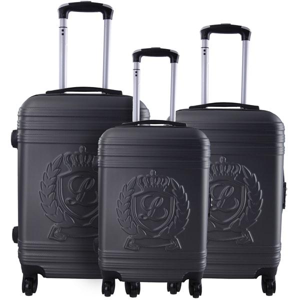Lollipops Dark Grey ABS/Aluminum/Nylon/Mesh 3-piece Hardside Spinner Luggage Set