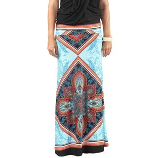 Hadari Womens Sky Blue Fold over waist Maxi Skirt with Diamond Pattern