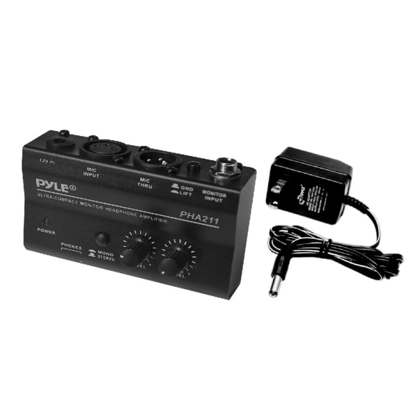 Pyle Compact Headphone Amplifier with 48V Phantom Power Pass