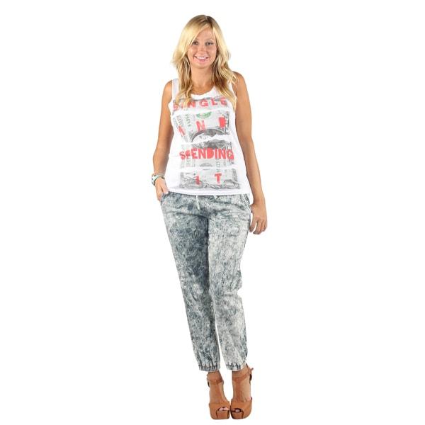 Hadari Women's Tapered Denim Sweat Pants
