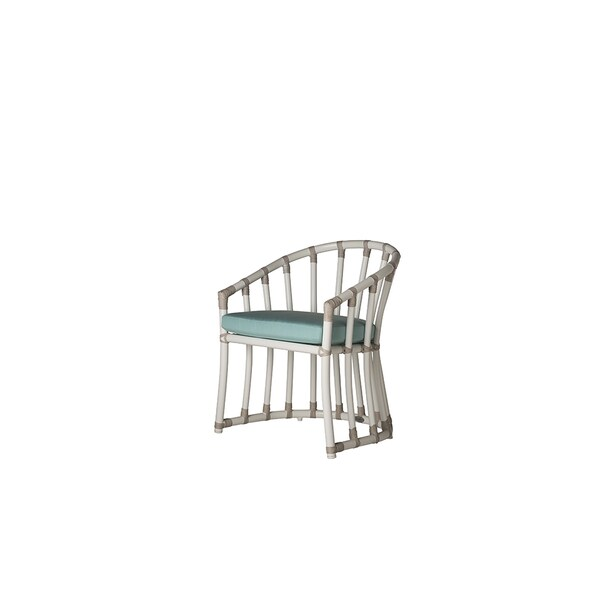 White Aluminum Laguna Armchair with Blue Cushion