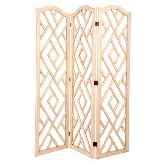 White Wood Chinese Chippendale Screen