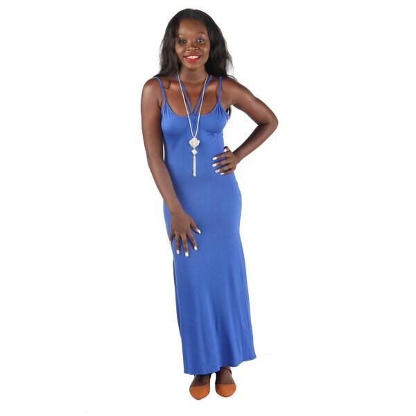 Hadari Womens Sexy Black back crossed grecian long dress with open side slits
