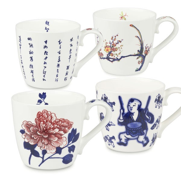 Waechtersbach Chinese Fine Art Assorted Colors Bone China Mug (Set of 4)