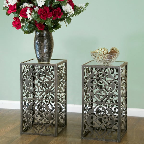 Abrielle Square Dark Slate Mirrored Glass-top End Table with Metal Frame (Set of 2)