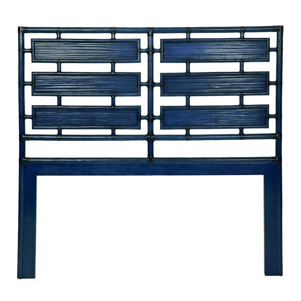 Aria Blue Rattan Queen Headboard