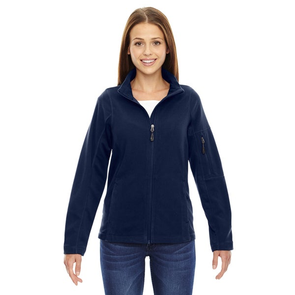 Generate Women's Night Blue Textured Fleece Jacket