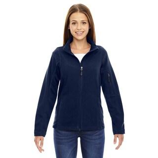 Generate Women's Night Blue Textured Fleece Jacket