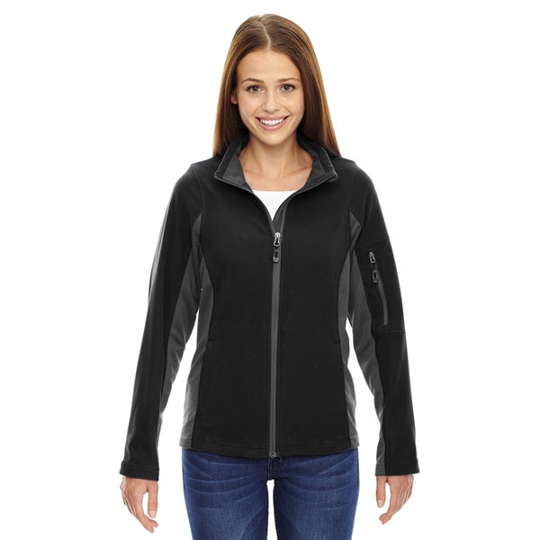 Generate Women's 703 Black Polyester Textured Fleece Jacket