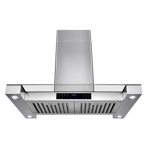 AKDY Stainless Steel 30-inch Island-mount Vented Cooking Fan with Touchscreen Display and LED-lit Range Hood 19488877