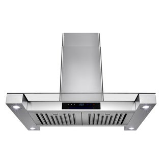 AKDY Stainless Steel 30-inch Island-mount Vented Cooking Fan with Touchscreen Display and LED-lit Range Hood