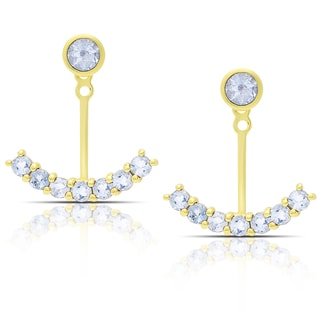 Dolce Giavonna Gold Over Sterling Silver Blue Topaz Jacket Earrings