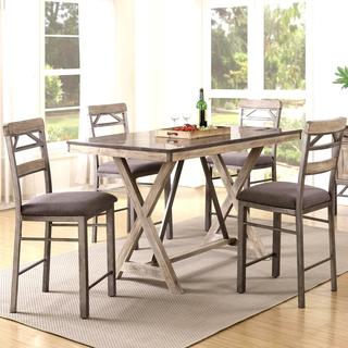 Craftsman Architectural Industrial Designed Counter Height Dining Set with Natural Bluestone Laminated Top