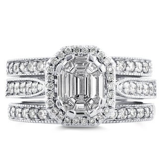 Annello 14k White Gold 1ct TDW Emerald and Round-cut Diamond Art Deco Halo 3-piece Bridal Set (H-I, I1-I2)