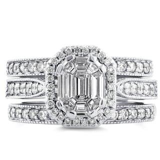 Annello 14k White Gold 1ct TDW Emerald and Round-cut Diamond Art Deco Halo 3-piece Bridal Set (H-I, I1-I2)